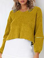economico -Per donna Manica lunga Pullover Tinta unita A V