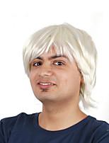 Недорогие -Парики из искусственных волос / Маскарадные парики Прямой Стрижка боб Искусственные волосы 16 дюймовый Простой / Косплей / Для европейских Белый Парик Муж. Короткие Машинное плетение