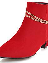 Недорогие -Жен. Ботильоны Замша Наступила зима Ботинки На толстом каблуке Заостренный носок Ботинки Черный / Желтый / Красный