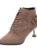 Недорогие -Жен. Fashion Boots Полиуретан Осень Английский Ботинки На каблуке-рюмочке Заостренный носок Ботинки Черный / Коричневый