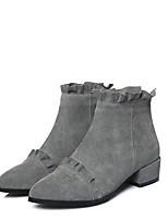 Недорогие -Жен. Fashion Boots Замша Наступила зима Ботинки На толстом каблуке Ботинки Черный / Серый / Светло-Розовый