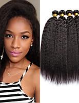 billiga -4 paket Brasilianskt hår Yaki Äkta hår Human Hår vävar / bunt hår / En Pack Lösning 8-28 tum Naurlig färg Hårförlängning av äkta hår Maskingjord Moderiktig design / Bästa kvalitet / 100% Jungfru