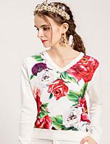 billige -Dame Basale / Kineseri Pullover - Ensfarvet / Blomstret