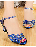 baratos -Mulheres Sapatos de Dança Latina Sintéticos Salto Salto Grosso Sapatos de Dança Preto / Roxo / Azul