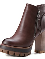 baratos -Mulheres Sapatos Microfibra Outono & inverno Conforto Botas Salto Robusto Cinzento / Camel / Castanho Escuro
