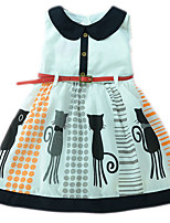 cheap -Kids Girls' Cat Solid Colored / Animal Sleeveless Dress