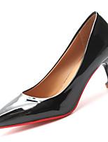 Недорогие -Жен. Полиуретан Лето Туфли лодочки Обувь на каблуках На каблуке-рюмочке Заостренный носок Черный / Бежевый / Хаки