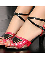 preiswerte -Damen Schuhe für den lateinamerikanischen Tanz Satin Absätze Starke Ferse Tanzschuhe Purpur / Rot