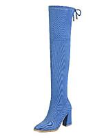 Недорогие -Жен. Cowboy / Western Boots Деним Наступила зима Ботинки На толстом каблуке Заостренный носок Сапоги выше колена Черный / Серый / Синий / Для вечеринки / ужина