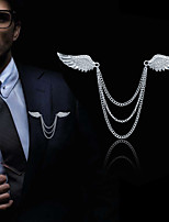 cheap -Men's Cubic Zirconia Stylish / Link / Chain Brooches - Creative, Angel Wings Statement, Fashion, British Brooch Gold / Silver For Daily / Holiday
