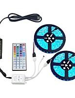 baratos -ZDM® 2x5 milhões Conjuntos de Luzes 300 LEDs 5050 SMD 1 adaptador 12V 6A / 1 controlador remoto de 44 teclas / 1 cabo de corrente alternada RGB Cortável / Decorativa / Auto-Adesivo 100-240 V 1conjunto