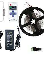 Недорогие -HKV 5 метров Гибкие светодиодные ленты 300 светодиоды SMD5630 1 пульт дистанционного управления Keys / 1 адаптер питания X 5A Красный / Синий / Зеленый Можно резать / Компонуемый / Самоклеющиеся