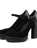 Недорогие -Жен. Балетки Замша Осень Обувь на каблуках На толстом каблуке Черный