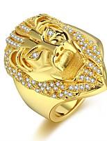 cheap -Men's Cubic Zirconia Cuban Link Ring - Lion Hip-Hop 8 / 9 / 10 / 11 / 12 Gold For Carnival Street