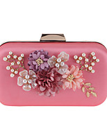 cheap -Women's Bags Polyester Evening Bag Pearls / Flower Almond / Fuchsia / Silver