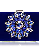 cheap -Women's Bags Velvet / Alloy Evening Bag Crystals Blue / Black / Red