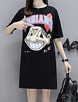 baratos -Mulheres Camiseta Básico Sólido / Letra / Retrato