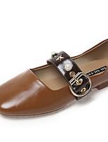 Недорогие -Жен. Обувь Полиуретан Лето Удобная обувь На плокой подошве На плоской подошве Квадратный носок Черный / Бежевый / Темно-русый