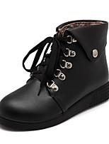 cheap -Women's Shoes PU(Polyurethane) Spring & Summer Comfort Boots Flat Heel White / Black / Dark Brown