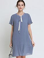 preiswerte -Damen Grundlegend Chiffon Kleid - mit Schnürung, Solide Übers Knie