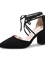 Недорогие -Жен. Комфортная обувь Замша Лето Обувь на каблуках На толстом каблуке Черный / Желтый / Розовый