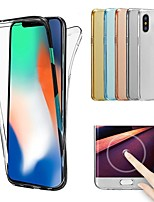 cheap -Case For Apple iPhone X / iPhone 8 Transparent Full Body Cases Solid Colored Soft TPU for iPhone X / iPhone 8 Plus / iPhone 8
