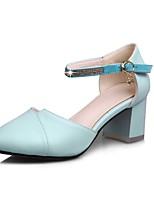 Недорогие -Жен. Комфортная обувь Полиуретан Весна лето Обувь на каблуках На толстом каблуке Белый / Розовый / Тёмно-синий