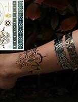 billiga -3 pcs Metallisk tillfälliga tatueringar Blomserier / Romantisk serie Miljövänlig / Ny Design Body art Kropp / arm / handled / Metalliska smycken tatueringar / Dekalstil tillfälliga tatueringar