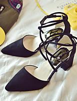 Недорогие -Жен. Обувь Полиуретан Лето Удобная обувь / Туфли лодочки Обувь на каблуках На толстом каблуке Черный / Серый / Розовый