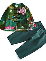 Недорогие -Дети Мальчики Цветочный принт Длинный рукав Набор одежды