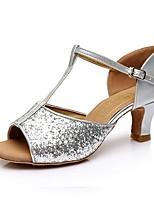 Недорогие -Жен. Обувь для латины Лакированная кожа Сандалии / На каблуках Кубинский каблук Персонализируемая Танцевальная обувь Серебряный