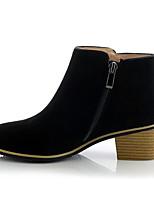 Недорогие -Жен. Обувь Замша Осень Удобная обувь / Ботильоны Ботинки На толстом каблуке Черный / Серый / Телесный