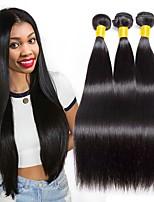 billiga -3 paket Indiskt hår / Mongoliskt hår Rak Obehandlat / Äkta hår Presenter / Human Hår vävar / Favör för Tebjudningar 8-28 tum Naurlig färg Hårförlängning av äkta hår Len / Party / Heta Försäljning