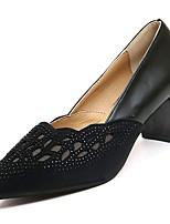 Недорогие -Жен. Полиуретан Осень Туфли лодочки Обувь на каблуках На толстом каблуке Заостренный носок Черный / Серебряный