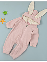 cheap -Baby Girls' Solid Colored Long Sleeve Romper