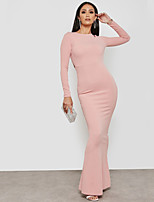 cheap -Women's Street chic / Sophisticated Sheath Dress - Solid Colored Backless
