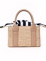 cheap -Women's Bags Straw / PU(Polyurethane) Tote Bow(s) White / Black / Khaki