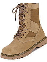 Недорогие -Жен. Армейские ботинки Замша Осень На каждый день Ботинки На плоской подошве Сапоги до середины икры Хаки