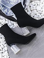 Недорогие -Жен. Fashion Boots Синтетика Наступила зима Ботинки На толстом каблуке Закрытый мыс Ботинки Черный