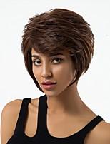 Недорогие -Человеческие волосы без парики Натуральные волосы Волнистый Стрижка под мальчика Природные волосы Темно-коричневый Без шапочки-основы Парик Жен. Повседневные