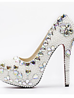 cheap -Women's Party Heels PU(Polyurethane) Spring &  Fall Basic Pump Wedding Shoes Stiletto Heel Round Toe Rhinestone / Crystal / Pearl White / Party & Evening