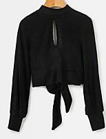 Недорогие -Жен. Хлопок Длинный рукав Пуловер - Однотонный