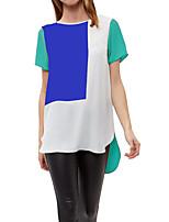 Недорогие -Жен. Пэчворк Большие размеры - Футболка / Блуза Классический / Уличный стиль Контрастных цветов / Лето