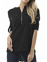 cheap -women's t-shirt - solid colored v neck