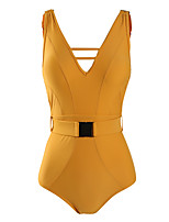 cheap -Women's Plunging Neck One-piece - Solid Colored Backless Cheeky