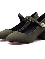 Недорогие -Жен. Балетки Замша Осень Обувь на каблуках На толстом каблуке Черный / Военно-зеленный
