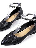 Недорогие -Жен. Балетки Полиуретан Лето Обувь на каблуках На низком каблуке Заостренный носок Черный / Серебряный / Красный