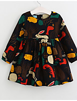 cheap -Kids Girls' Geometric / Animal Long Sleeve Dress