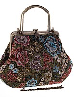 cheap -Women's Bags Polyester Evening Bag Buttons / Embroidery Embroidery Coffee