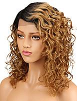 Недорогие -Remy Полностью ленточные Парик Бразильские волосы Кудрявый Парик Стрижка каскад 130% С детскими волосами Золотистый Жен. Короткие Парики из натуральных волос на кружевной основе